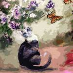 """Modern Cat Art Mixed Media P2"" by GinetteCallaway"