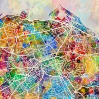 Edinburgh Street Map Art Prints & Posters by Michael Tompsett