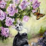 """Cat in Garden with Monarch Butterflies"" by GinetteCallaway"