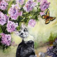 Cat in Garden with Monarch Butterflies Art Prints & Posters by Ginette Callaway