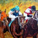 """battling down the stretch 2007"" by cabartbycindybeck"