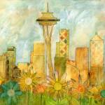 """Seattle Skyline in Bloom I"" by OneHeartStudio"