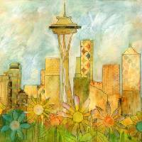 Seattle Skyline in Bloom I Art Prints & Posters by Caitlin Dundon