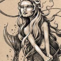 Mermaid with Rope Art Prints & Posters by Bryan Collins