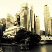 Urban Cityscape monochrome, Singapore Art Prints & Posters by Blue Sentral Photography