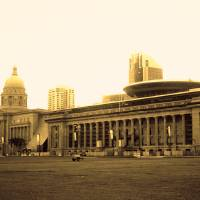 Urban Singapore monochrome, City Hall Art Prints & Posters by Blue Sentral Photography