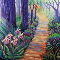 Lady Slippers on the Path Art Prints & Posters by Sheryl Karas
