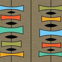 Trapezoids 3 on Brown Art Prints & Posters by Donna Mibus