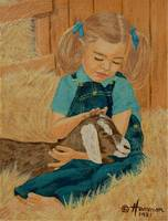Girl with Pet Goat Painting