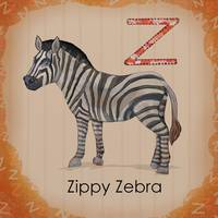Zippy zebra alphabet wall art