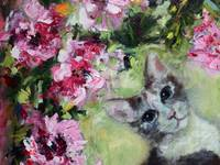 In The Peonies Cat Portrait