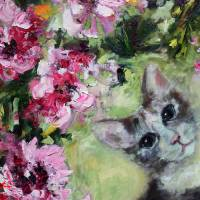 """In The Peonies Cat Portrait"" by Ginette Callaway"