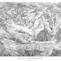 Alta 2014 Trail Map Sketch Art Prints & Posters by James Niehues