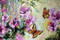 Butterflies and Peonies Oil Painting