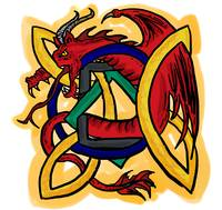 Celtic design red dragon drawing
