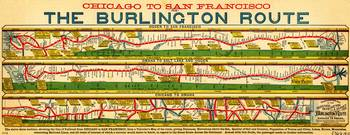 Antique Map of  Chicago to San Francisco
