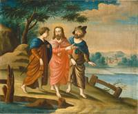 American 18th Century Christ on the Road to Emmaus