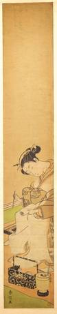 An Oiran Seated upon a Bed, Writing a Letter by Su