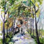 """Walking The Dog Watercolor and ink by Ginette"" by GinetteCallaway"