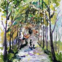"""Walking The Dog Watercolor and ink by Ginette"" by Ginette Callaway"