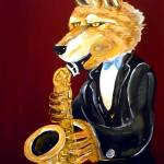 """Dire Wolf Playing the Saxophone"" by Polylerus"