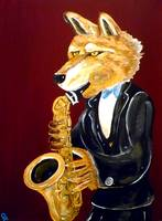 Dire Wolf Playing the Saxophone