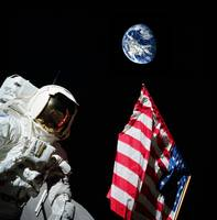 American flag and Earth in the background during A