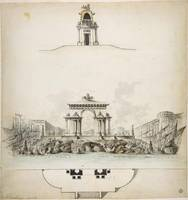 Design for Colossal Triumphal Arch Surmounted by a