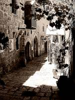 Jaffa alleyway in sepia