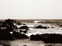 rocky cove in sepia