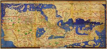 Reproduction of a famous world map by Muhammad al-