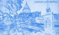 London Cathedral  - BluePrint Drawing