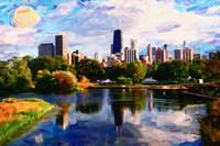 Chicago downtown from Lincoln park art