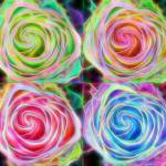 """Four Colorful Electrify Roses"" by lightningman"