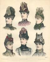 6 Ladies Hats Fashion Illustration Engraving