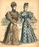 Two Women Paris Fashion Illustration Engraving 5
