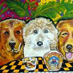 """3 Dogs Labradoodle Golden Retriever Crown Royal"" by reniebritenbucher"