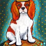 """King Charles Spaniel on Turquoise"" by reniebritenbucher"