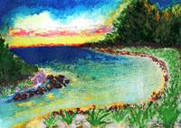 Sunrise Tropical Island Cove Painting 1a