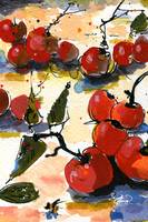 Red Cherries Modern Decorative Watercolor
