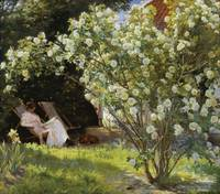 P.S. Krøyer - Roses. Marie Krøyer seated in the de