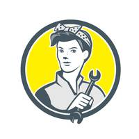 Female Mechanic Worker Holding Wrench Retro