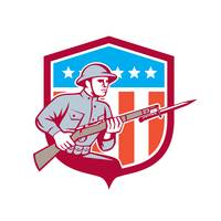 World War One Soldier American Retro Shield