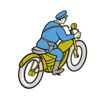Highway Patrol Policeman Riding Motorbike Cartoon