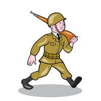 World War Two Soldier American Cartoon Isolated