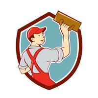 Plasterer Masonry Trowel Shield Cartoon