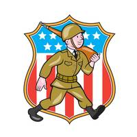 World War Two Soldier American Cartoon Shield