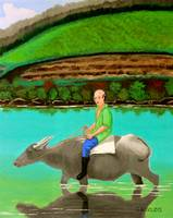 Man Riding a Carabao