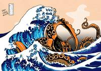 The Great Wave off Kanagawa with a Kraken