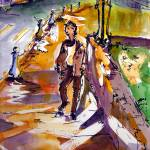 """Evening Stroll Watercolor and Ink by Ginette"" by GinetteCallaway"